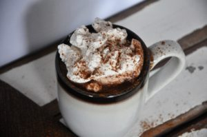 cinnamon hot cocoa with bourbon vanilla whipped cream