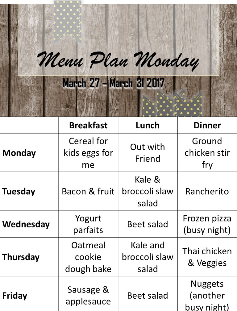 Menu Plan end of March