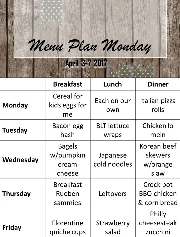 menu plan april