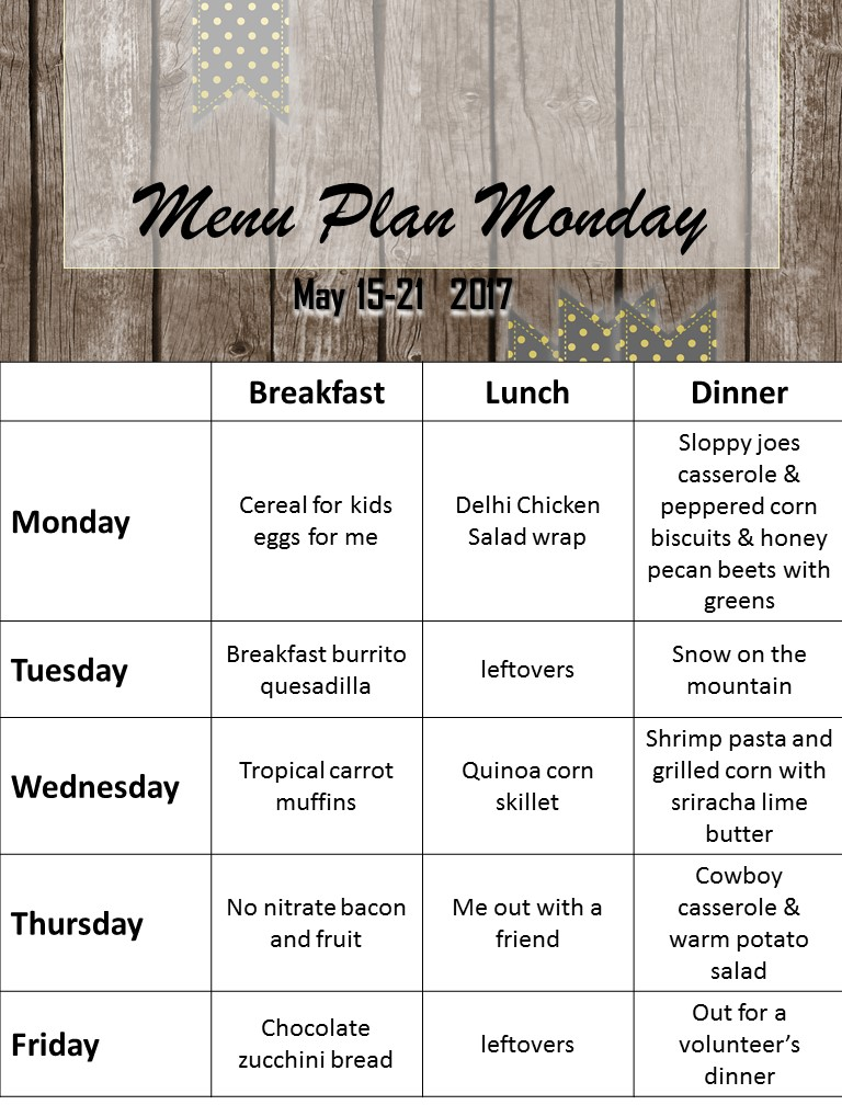 Menu Plan Monday in May