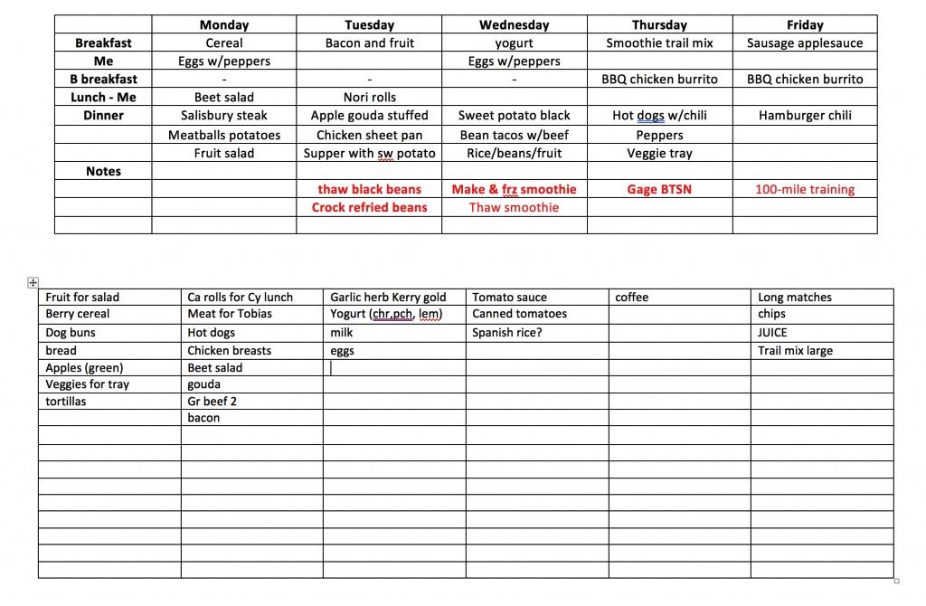 daily ration menu planning process