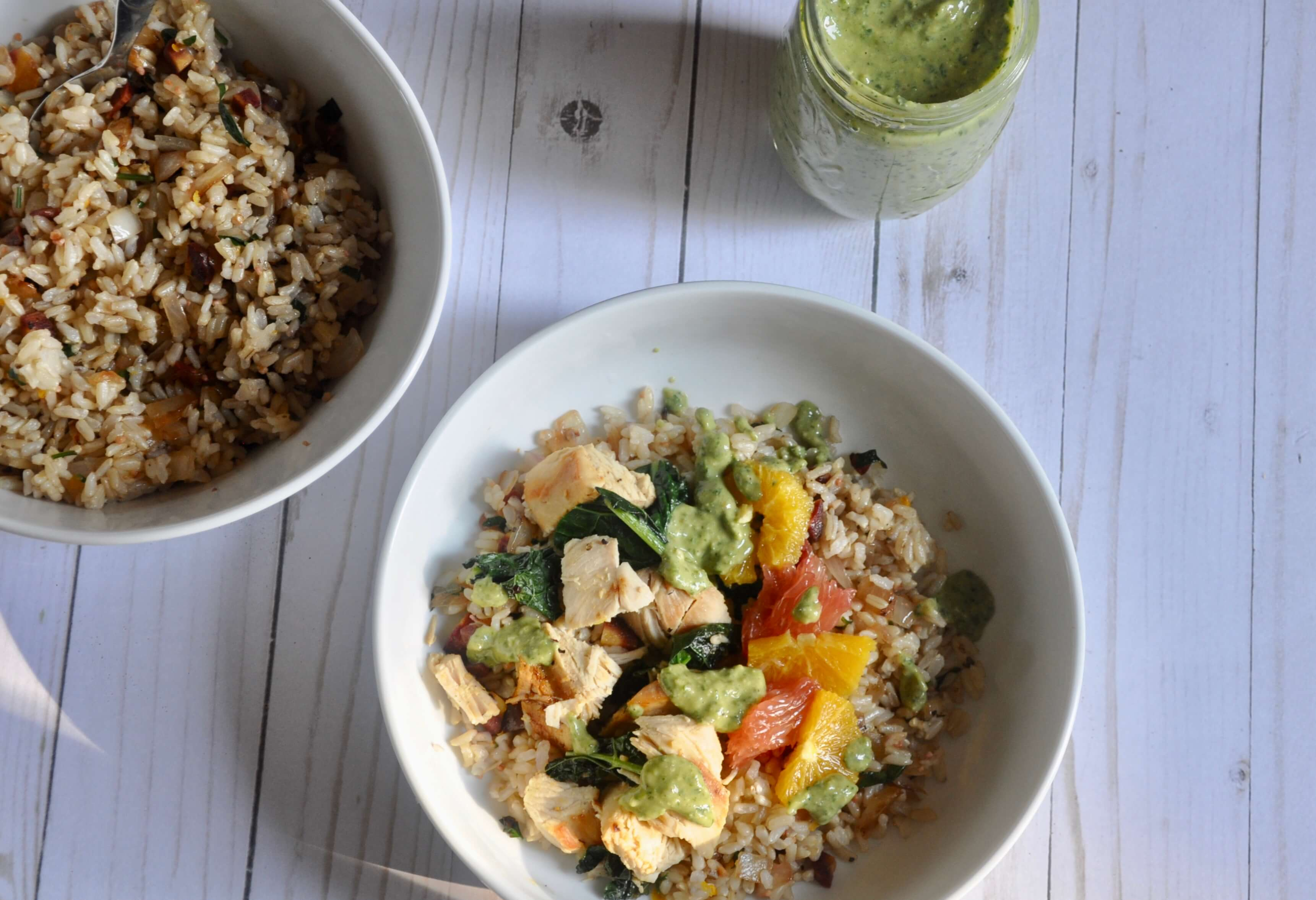 citrus chicken bowls with palsied brown rice pilaf
