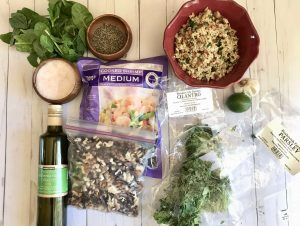 ingredients for walnut herb shrimp from dailyration.net