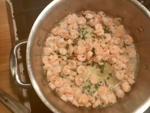 sautéing shrimp for walnut herb shrimp from DailyRation.net