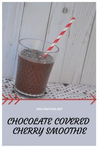 healthy Paleo chocolate covered cherry smoothie from DailyRation.net #smoothie #healthy #paleo #vegan #pegan