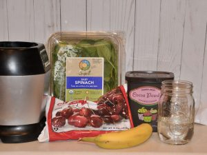 simple ingredients for paleo vegan chocolate cherry smoothie