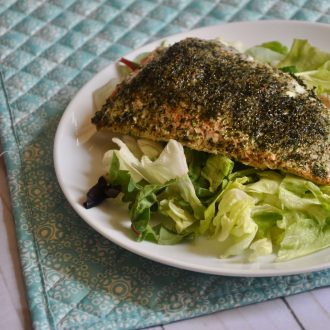 herb rubbed garlic ranch salmon
